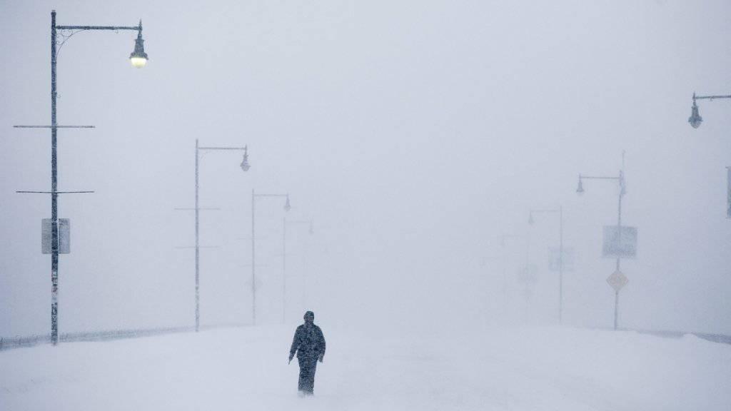Strasse in Boston während eines Wintersturms vor einem Jahr (Archiv)