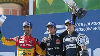 Das Podest in Moskau: Sieger Nelson Piquet jr. zwischen Lucas Di Grassi und Sébastien Buemi (rechts)