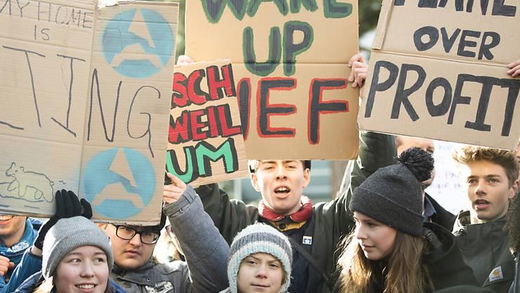 Die Weltelite muss aufwachen: Kundgebung der Klimaaktivisten in Davos (in der Mitte Greta Thunberg).