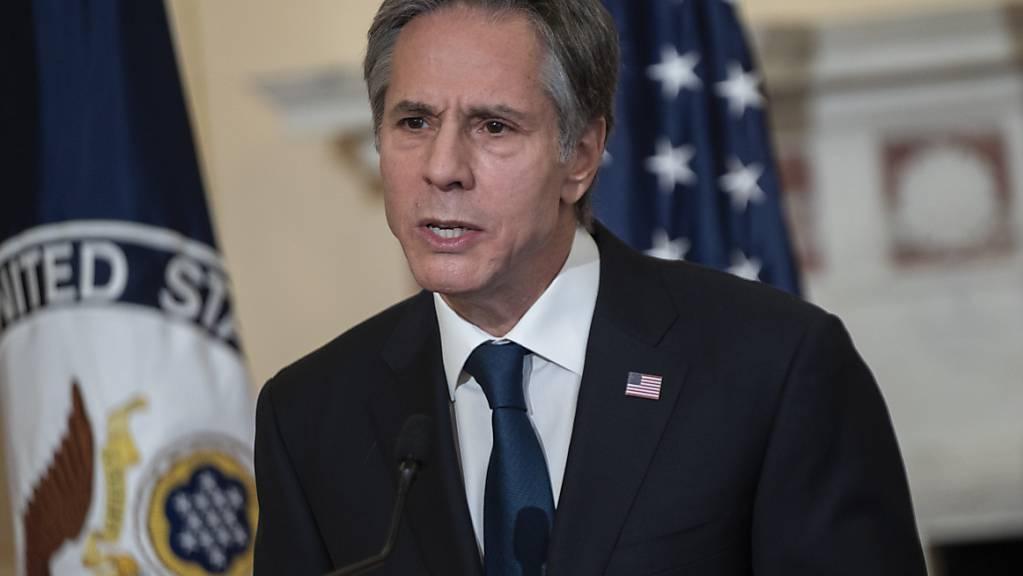Antony Blinken spricht im Aussenministerium der Vereinigten Staaten.