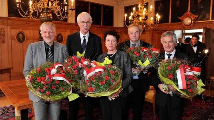 Gomm wird 2009 in den Regierungsrat gewählt. Mit ihm bilden Klaus Fischer (CVP), Esther Gassler und Christian Wanner (beide FDP) sowie Walter Straumann (CVP) die Regierung.