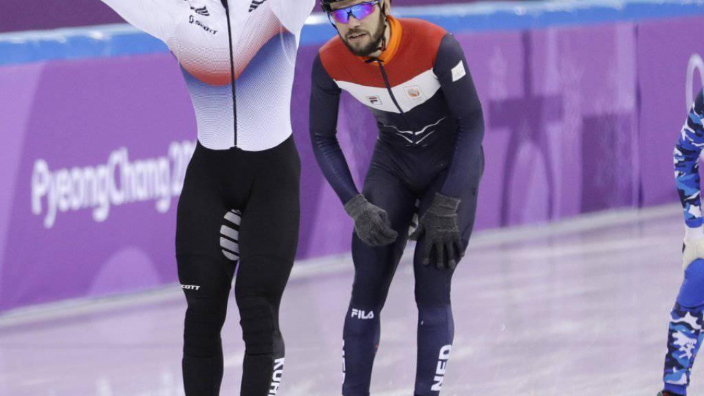 Der Südkoreaner Lim Hyo-Jun jubelt nach seinem Sieg über 1500 m