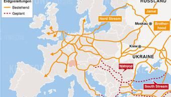 Bestehende und geplante Gasleitungen von Russland nach Westeuropa