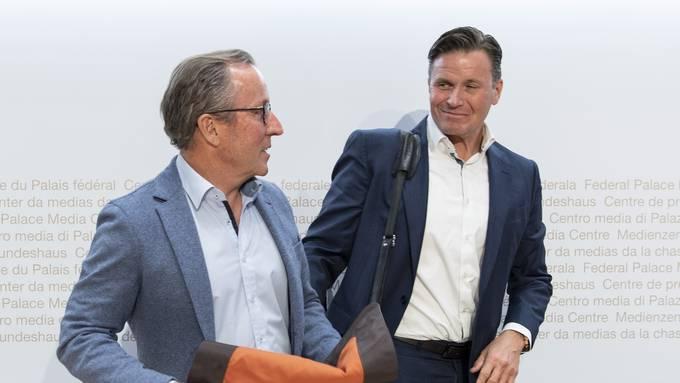 Man hat sich geeinigt: Lauberhornrennen-Chef Urs Näpflin (links) und Swiss-Ski-Präsident Urs Lehmann.