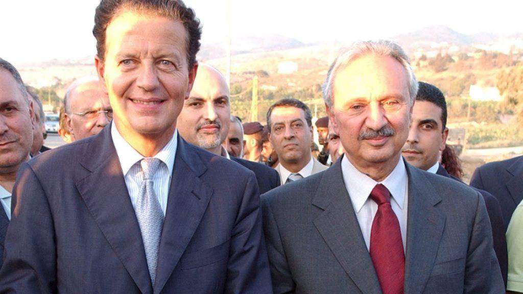 Verzichtet auf das Amt des Premierministers: der frühere libanesische Finanzminister Mohammed Safadi (rechts). (Archivbild)