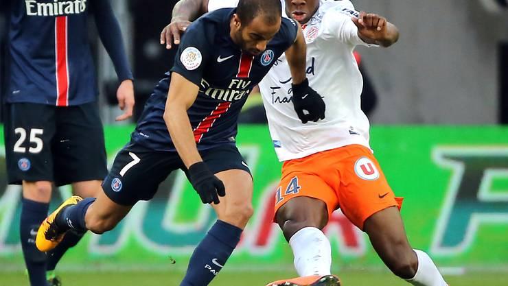 Paris Saint-Germain (hier Lucas, links) kann sich gegen Montpellier nicht durchsetzen