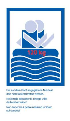 2. Die auf dem Boot angegebene Nutzlast darf nicht überschritten werden.