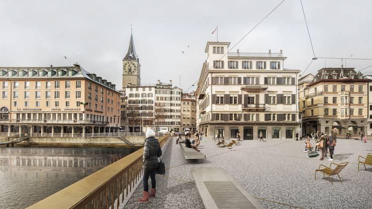 Schmalere Brückenpfeiler sollen dafür sorgen, dass auch in Zukunft beim Engpass Rathausbrücke genug Wasser abfliessen kann.