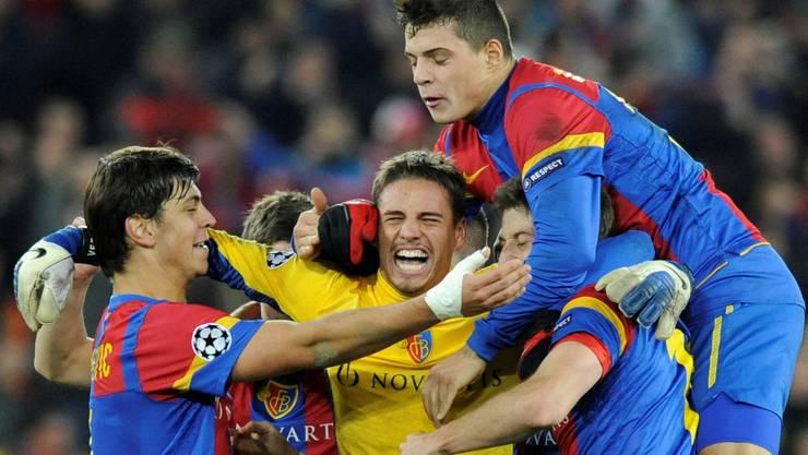 2011 jubelte der FCB nach dem Sieg gegen Manchester United.