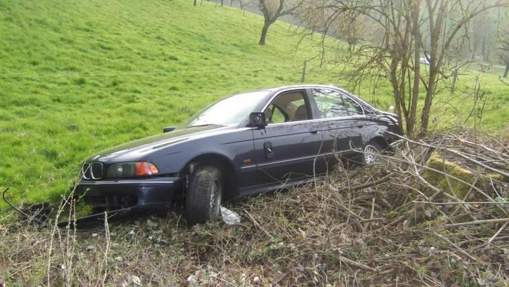 Das Auto landete in einem Bach.