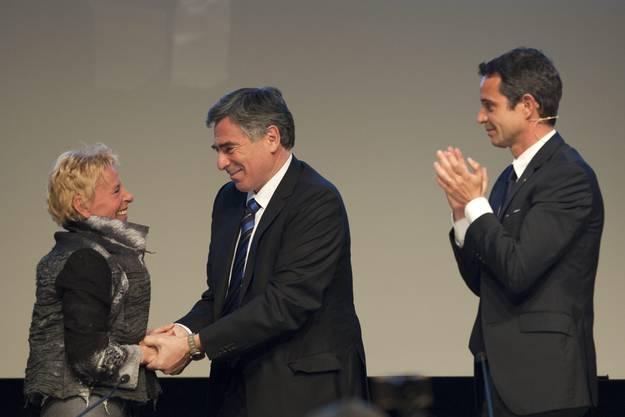 Auch Regierungsrat Christoph Eymann bedankt sich bei Oeri