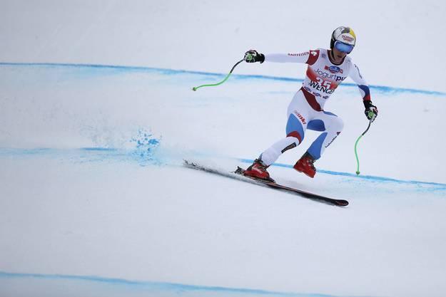 Carlo Janka schied aus. Er musste mit nur einem Ski nach unten fahren.