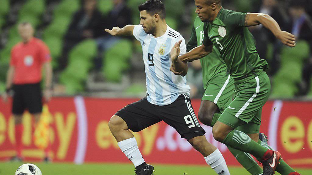 Sergio Agüeros Treffer gegen Nigeria reicht Argentinien nicht zum Sieg.