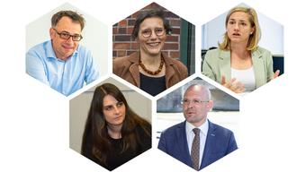Die Kandidierenden: Kaspar Sutter, Stephanie Eymann, Heidi Mück, Baschi Dürr, Esther Keller