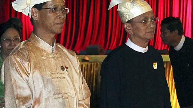 Präsident Thein Sein, rechts, und Vizepräsident Thiha Thura Tin Aung Myint Oo