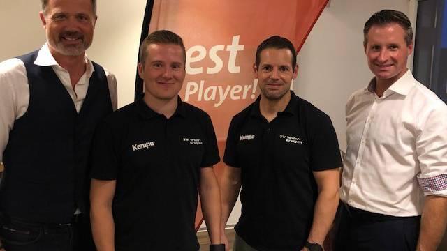 (v.l.n.r): Rot. Alex Miescher (Moderator), Tatu Väänänen (SVWE Captain), Matthias Hofbauer (bester WM-Skorer), Rot. Thomas Meuli (Regiobank Solothurn)