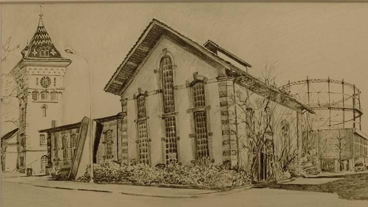 So zeichnet Monica Hollenweger das Schlieremer Gaswerk. Auch das Stürmeierhuus, das Gemeindehaus Oetwil und Dutzende weitere Bilder stellt sie jetzt aus.