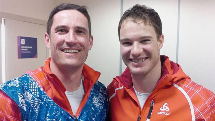 Sportarzt Patrik Noack (l.) zusammen mit Dario Cologna bei der Dopingkontrolle nach dessen Olympiasieg in Sotschi.