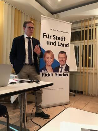 Kantonsrat Martin Hübscher referierte engagiert zum Wassergesetz - Parole JA