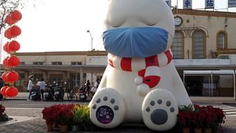 """Taiwan geht rigoros gegen 1.-April-Scherze im Zusammenhang mit dem Coronavirus vor. Im Bild eine Kunstinstallation mit Namen """"Schlafender Bär"""" in Chiayi City im Westen Taiwans. (Archivbild)"""