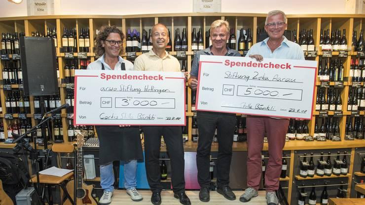 Im Bild von links: Daniel Cortellini, Roland Meier (Geschäftsführer Arwo), Christoph Schoop und Ueli Speich (Stiftungsleiter Zeka).