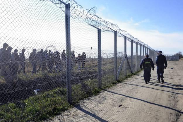 Grenzzäune in Osteuropa und auf dem Balkan (hier Ungarn): Nach 2015 begannen einzelne EU-Staaten ihre Grenzen abzuriegeln und errichteten Drahthindernisse, welche verhindern sollten, dass Migranten die Grenze überschreiten.