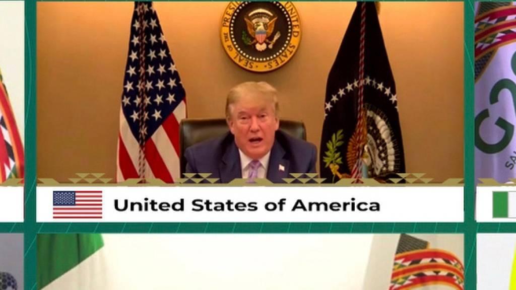 US-Präsident Donald Trump und weitere Staats- und Regierungschefs der führenden Wirtschaftsnationen nehmen an einer Video-Schalte zum virtuellen G20-Gipfel teil.