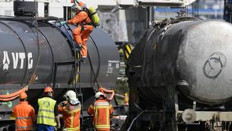 In Daillens im Kanton Waadt entgleisten im April mehrere mit gefährlichen Säuren beladene Güterwagen