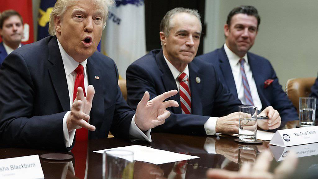 """""""Zu anderen Dingen übergehen"""": US-Präsident Donald Trump und der republikanische Abgeordnete Chris Collins machen vor der Abstimmung über die Gesundheitsreform Druck. (Archivbild)"""
