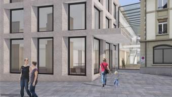 Bei der «Alten Post» in Brugg ist ein dreigeschossiger Anbau für Stadtbüro, Gewerbe und Wohnungen geplant.