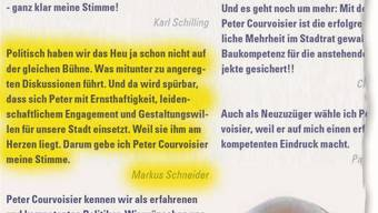 Ausschnitt aus dem Wahlkampf-Flyer von FDP-Mann Peter Courvoisier