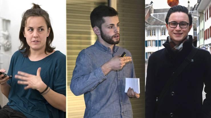 Maja Haus (Junge Grüne), Glenn Steiger (CVP) und Robin Kiefer (Junge SVP): drei Gesichter der Solothurner Jungpolitik.