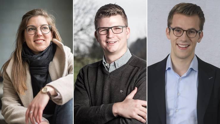 Die Wohnung im Berner Marziliquartier haben die drei Jungpolitiker für das ganze Jahr gemietet. Von links nach rechts: Franziska Ryser (Grüne), Mike Egger (SVP) und Andri Silberschmidt (FDP).