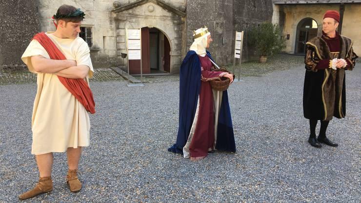 Streitgespräch zwischen Kaiser Nero, Königin Louis XI und Königin Agnes zum Thema Macht und Herrschaft