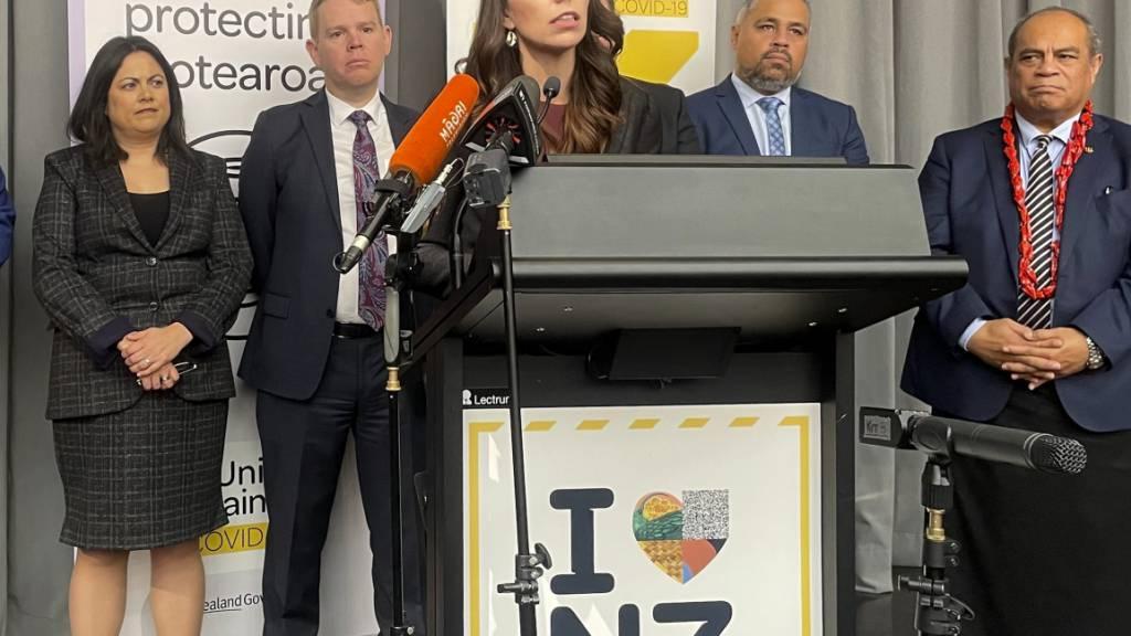 Jacinda Ardern, Premierministerin von Neuseeland, hält eine Rede. Foto: Nick Perry/AP/dpa