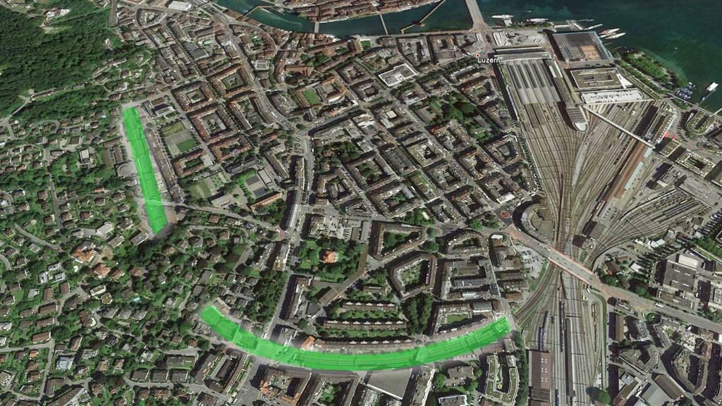 Grünes Dach über den Gleisen in der Stadt Luzern