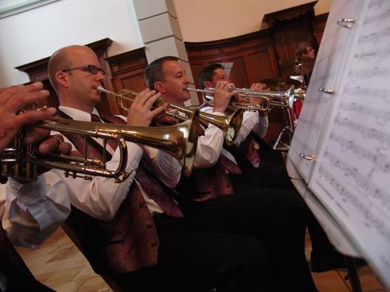 Das Trompetenregister mit (v.l.n.r.) Daniel Schoch, Christian Telli und Rolf Suter