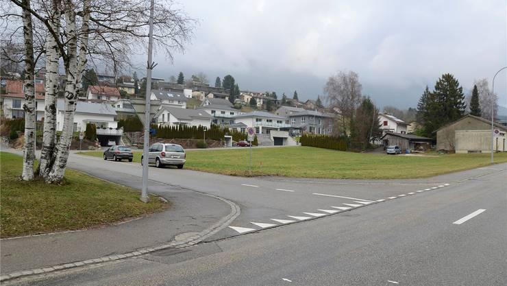 Die Bürgergemeinde will für die Neubauten auf dieser Wiese an der Hauptstrasse selbst als Investor auftreten.Hansjürg Sahli