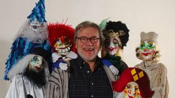Arth Paul mit den «Pfyfferli»-Figuren von 2008. Bild: zvg/Theater Fauteuil