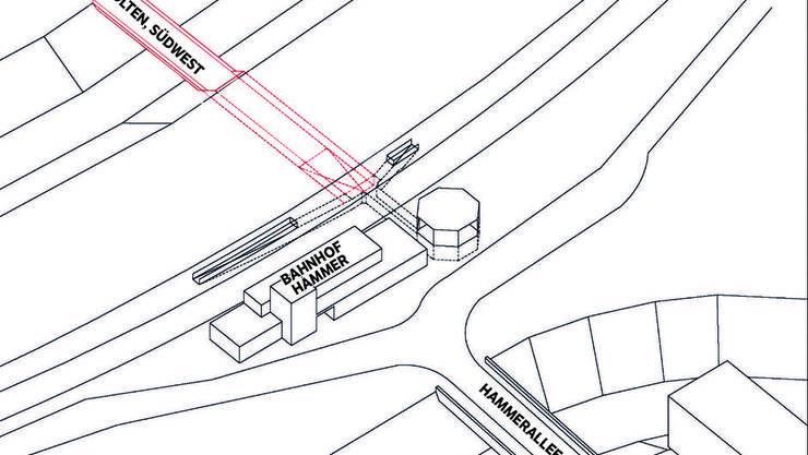 Variante 3: Eine Etappierung der Länge nutzt weiterhin die bestehende Unterführung und schliesst Richtung SüdWest daran an (Neuheiten sind rot markiert)