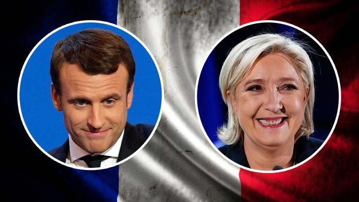 Treten in der Stichwahl um den Präsidentensitz am 7. Mai gegeneinander an: Emmanuel Macron und Marine Le Pen.