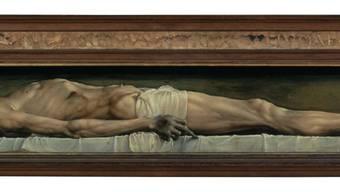 Hans Holbein d. J.: (1497/1498–1543): Der tote Christus im Grab, 1521–1522, Öl auf Lindenholz, 32.4 x 202.1 cm. Kunstmuseum Basel