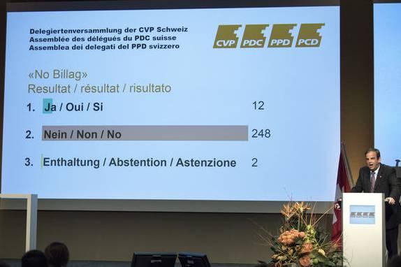 Gerhard Pfister, Nationalrat und Parteipräsident der CVP, erörtert das Abstimmungsergebnis.