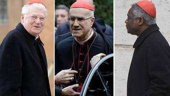 Haben die besten Chancen: Mailands Erzbischof Angelo Scola, Kardinalstaatssekretär Tarcisio Bertone,Kardinal Peter Kodwo Appiah Turkson aus Ghana