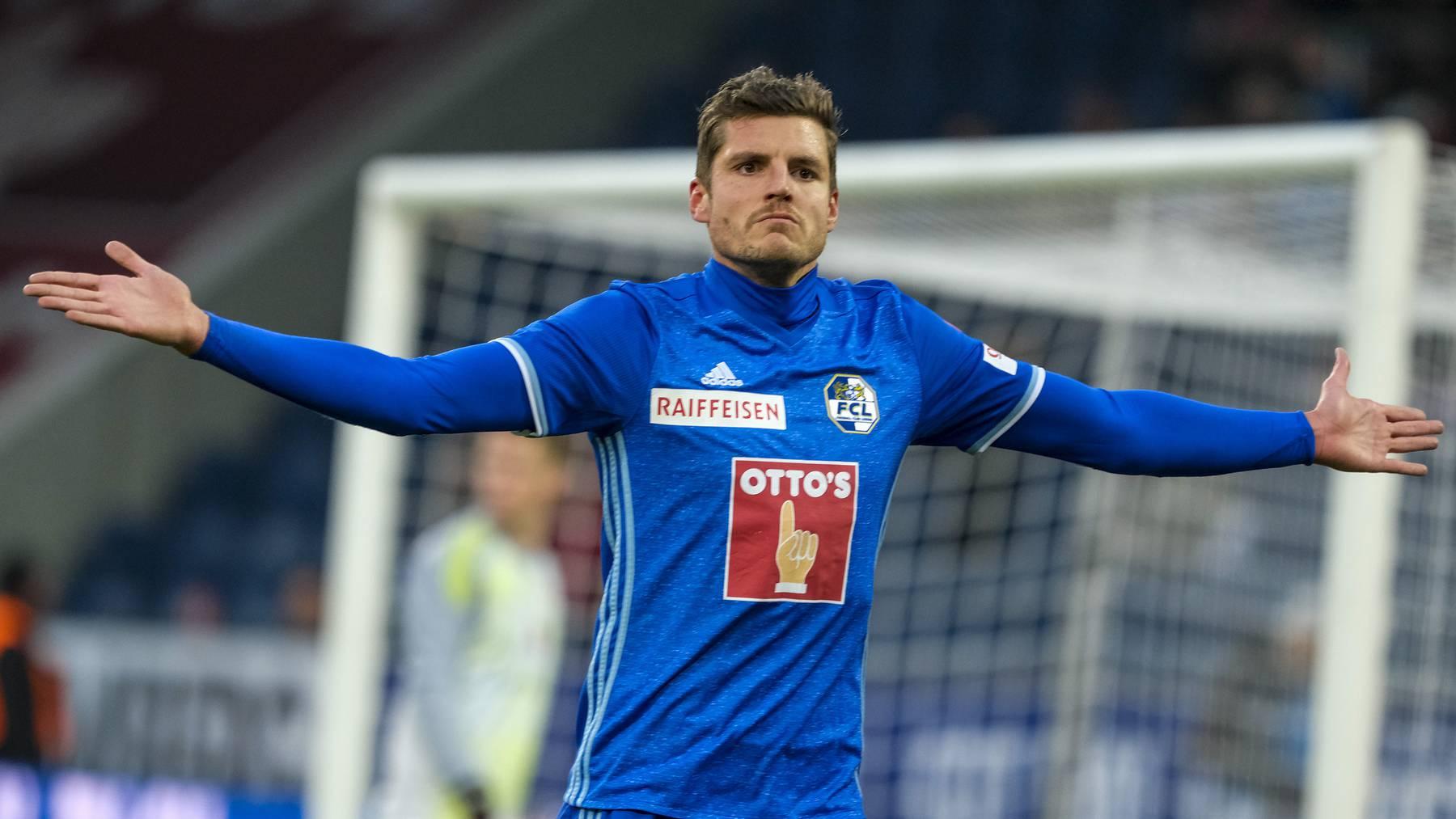 FCL-Stürmer Pascal Schürpf jubelt nach dem Tor zum 1:0 in der 8. Minute.