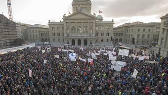 """Die Bauern - hier an einer Demonstration vor drei Wochen - wurden erhört: Der Ständerat stimmte einer Aufstockung beim """"Schoggigesetz"""" zu. (Archiv)"""