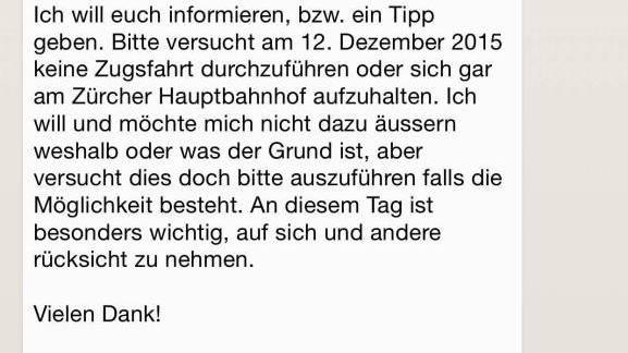 Diese WhatsApp-Nachricht warnt vor einem Anschlag in Zürich.
