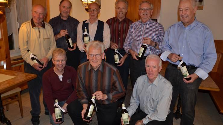 hinten vlnr: Ernst Humm, Walter Bärtschi, Viktor Dormann, Alois Bieri, Edi Hofer, Max Eichenberger vorne vlnr: Albert Hubschmid, Bruno Kunz, Roland Bitterli.