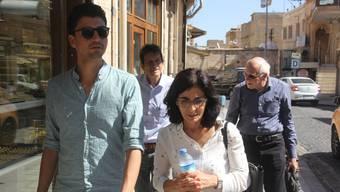 Fabian Molina (vorne links) mit der kurdisch-schweizerischen Dolmetscherin und dem emeritierten Soziologie-Professor Ueli Mäder (links) und Ruedi Tobler vom Schweizerischen Friedensrat.