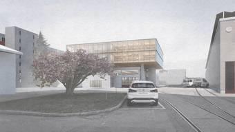 Wie ein Vogelnest thront der Neubau auf der heute als Lager genutzten Industriehalle.